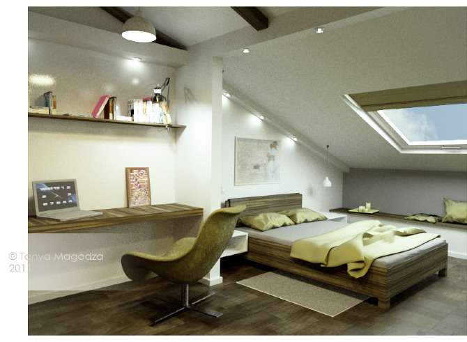 Mansard roof interiors magodza for Interior design bedroom roof